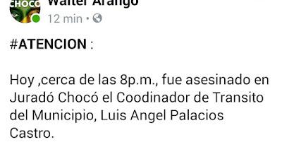 Asesinan al coordinador de tránsito  y transporte del municipio de Juradó