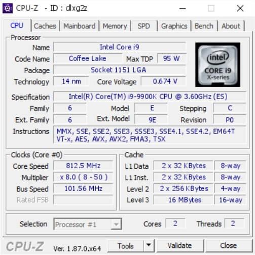 ADATA's XPG SPECTRIX D80 Overclocked CPU-Z Info