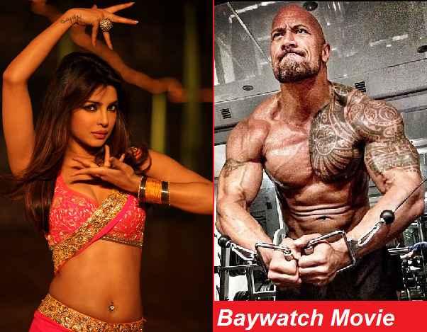 Priyanka Chopra cleavage In Baywatch Dwayne The Rock Johnson  muscles Hollywood Movie As Villian