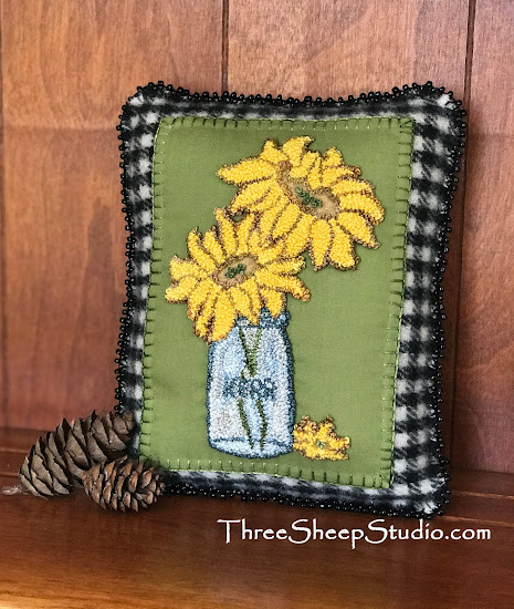 Simply Sunflowers Charm Cushion with glass beaded edge by Rose Clay at ThreeSheepStudio.com