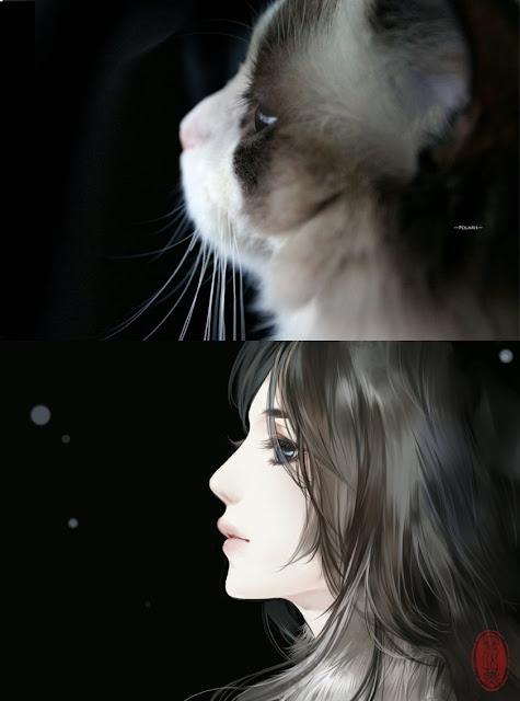 Kot narysowany jako kobieta z anime 08