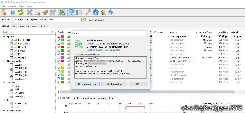 LizardSystems Wi-Fi Scanner 4.2 Build 167 Full Key, Công cụ dễ sử dụng để quét và phân tích mạng không dây 802.11a / b / g / n / ac