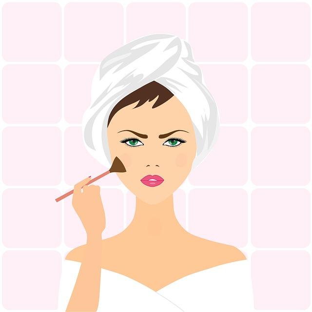 Frowing Cartoon woman applying blush.jpeg