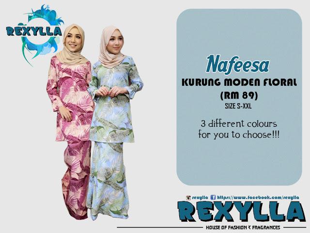 rexylla, baju kurung, kurung moden, floral, floral print, nafeesa collection