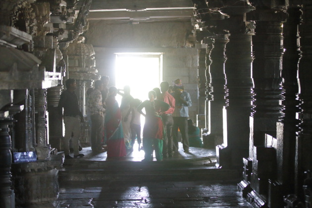 Inside the first room of the Hoysaleswara Temple, Halebid, Karnataka