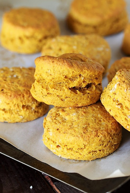 Pumpkin Biscuits ~ Celebrate the flavors of fall, even in your biscuits!  Pumpkin Biscuits are made extra scrumptious with a smear of Pecan-Honey Butter, too.