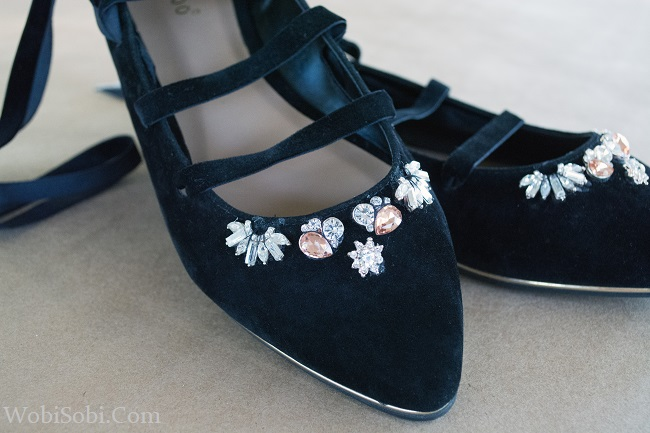 Flat Black Rhinestone Shoes