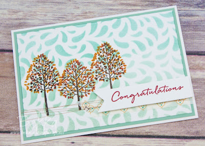 Totally Trees Congratulations Card with a masked Background made with Stampin' Up! UK Supplies