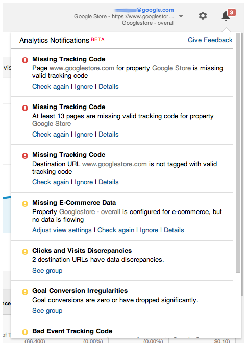 Google teste en mode bêta Analytics Diagnostics
