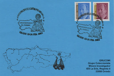 Matasellos dedicado a la peregrinación de la Santina por Asturias en 2001