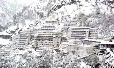 SNOW CAPPED MATA VAISHNO DEVI TEMPLE IN INDIA HOLY PLACES