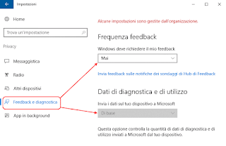 Windows 10 - Feedback e telemetria