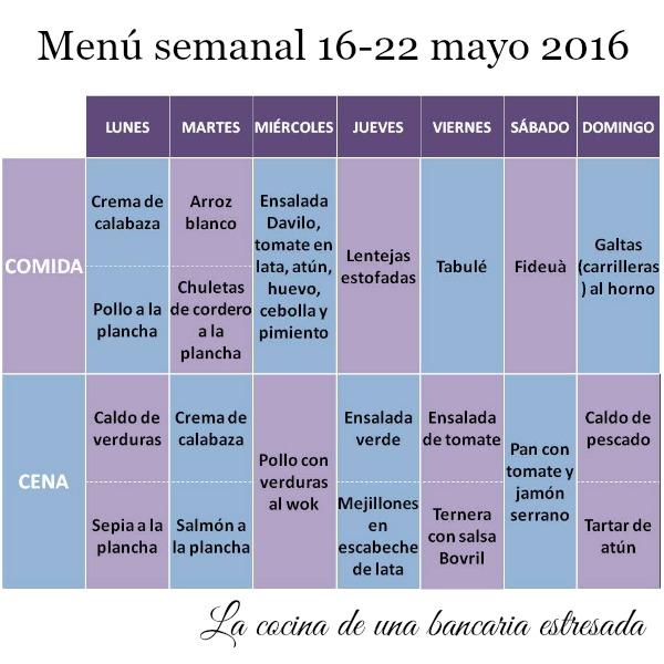 Menú semanal completo del 16 al 22 de mayo de 2016