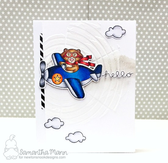 Bear driving Airplane Card by Samantha Mann | Winston Takes Flight stamp set by Newton's Nook Designs #newtonsnook