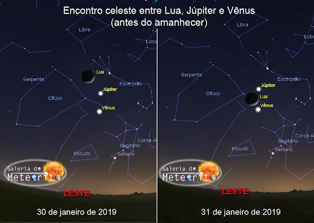 encontro lua venus e jupiter em janeiro de 2019