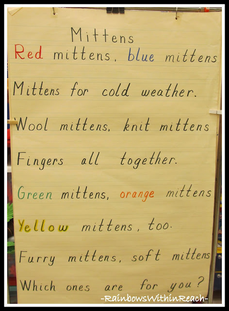 photo of: Winter Mitten Anchor Chart Poem via RainbowsWithinReach