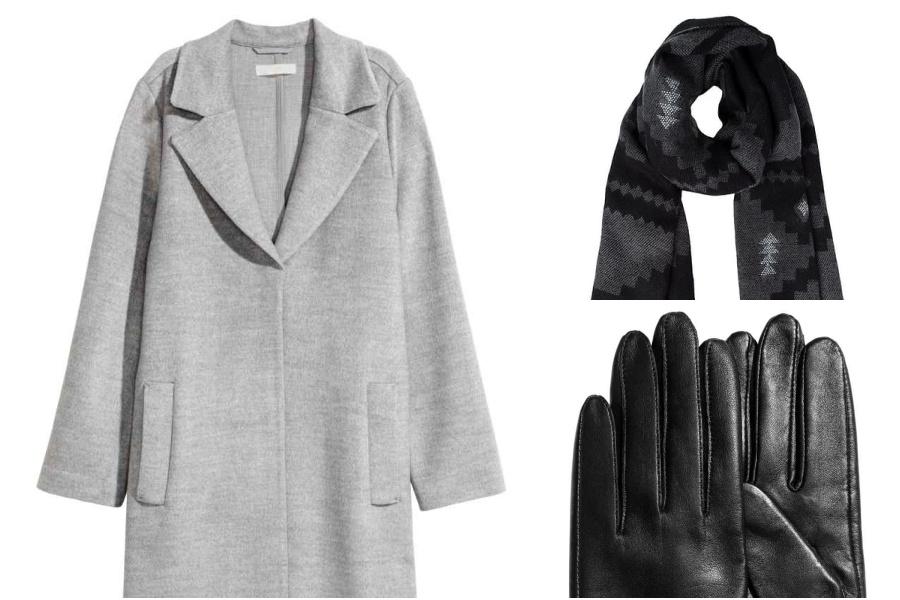 płaszcz H&M, rękawiczki H&M, szal vero moda