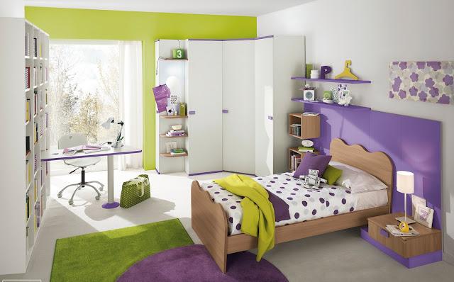 chambre fille verte
