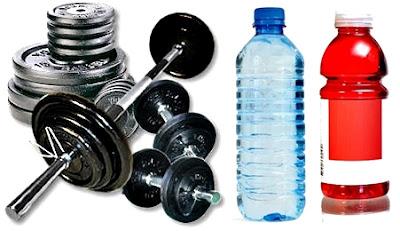 Agua bebida isotónica pesas
