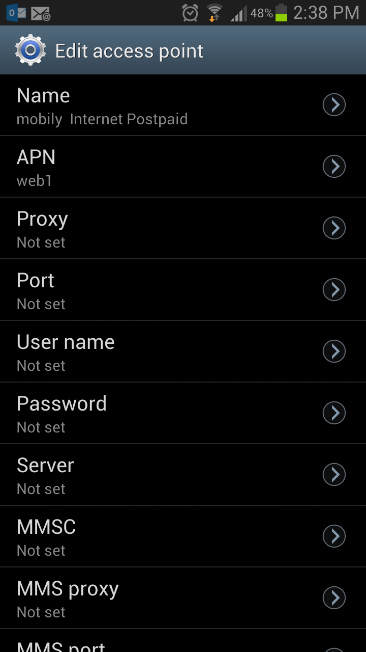 Setting Mobily Internet Postpaid on Samsung Galaxy Note 2 & S4