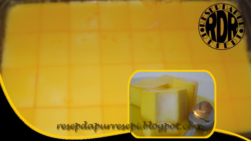 Cara membuat puding sutra mangga dengan cara sirup disiram