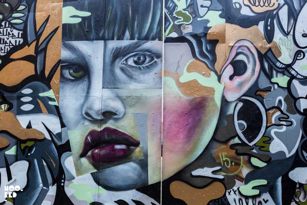American street artist ELLE paints a Murals in East London while visiting the city