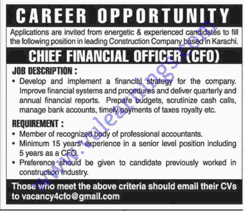 Job in Construction Company Based karachi