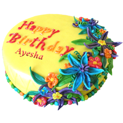 Uzma Shabbir Birthday Cake Pic With Name Ayesha