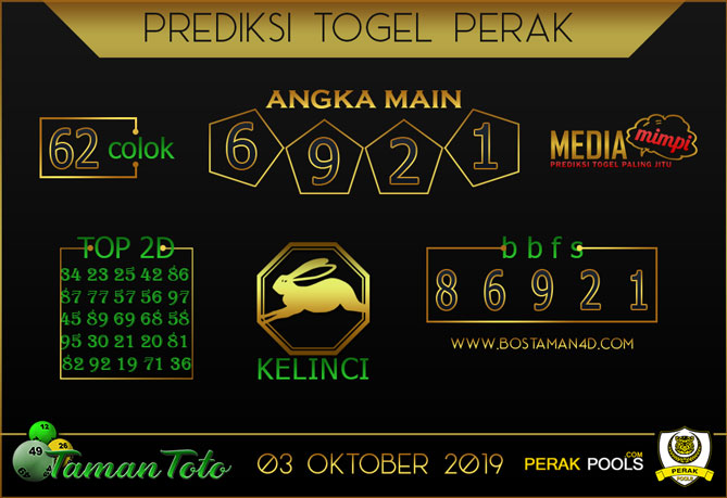 Prediksi Togel PERAK TAMAN TOTO 03 OKTOBER 2019