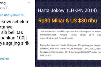 Keceplosan! Pendukung Sebut Harta Jokowi 350 M; Padahal Ngaku di LHKPN Cuma 30 M dan US$30 Ribu