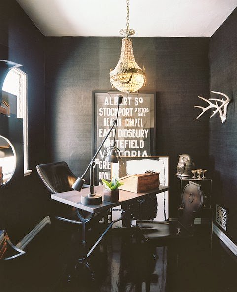 home office decor with black seagrass wallpaper