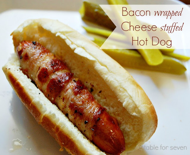 Bacon Wrapped Cheese Stuffed Hot Dog