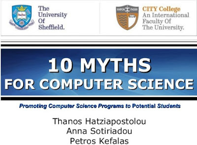http://www.slideshare.net/Hatziapostolou/10-myths-for-computer-science