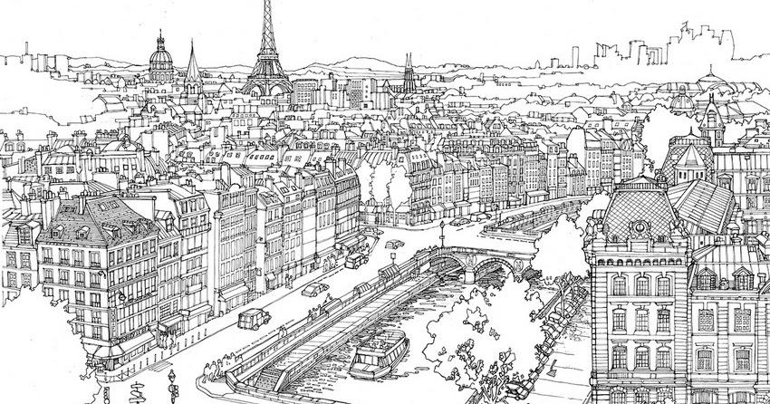 Dessins et Coloriages: Page de coloriage grand format à imprimer : la ville de Paris vue du ciel