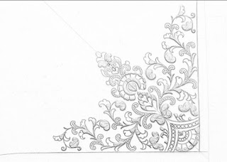 How to draw an easy saree corner design for hand emroidery,saree corner design patterns pencil sketch on tracing paper for hand work