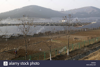 A Chinese female farmer works in the field near a Photovoltaic Solar Power Plant in Xuzhou, Jiangsu province, China. 16-Feb-2013 (Credit: Lou Linwei / Alamy Stock Photo) Click to Enlarge.