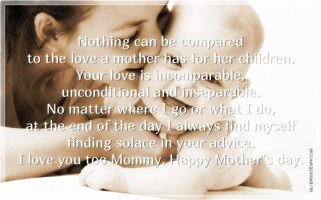 Cute Love Quotes For Kids: Nothing Can Be Compared To The Love A Mother Has For Her