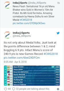 Cwg 2018 day 4, India won 2 gold and 1 silver