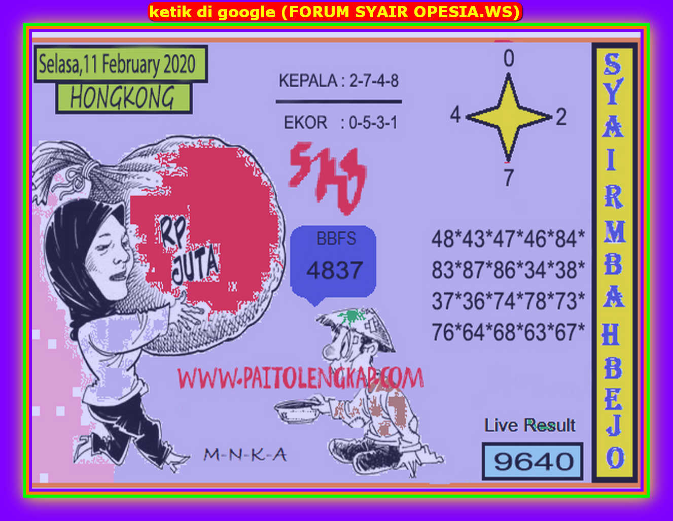 Kode syair Hongkong Selasa 11 Februari 2020 110