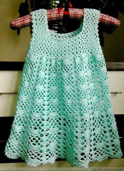 Patrón #1176: Vestido de Niña a Crochet