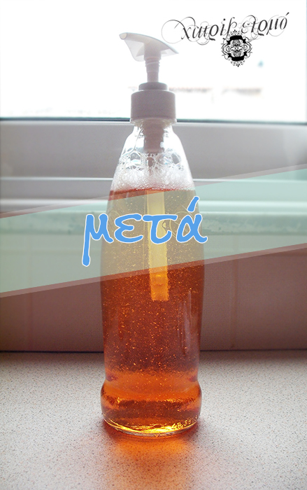 Γυάλινο μπουκάλι με αντλία για το απορρυπαντικό πιάτων