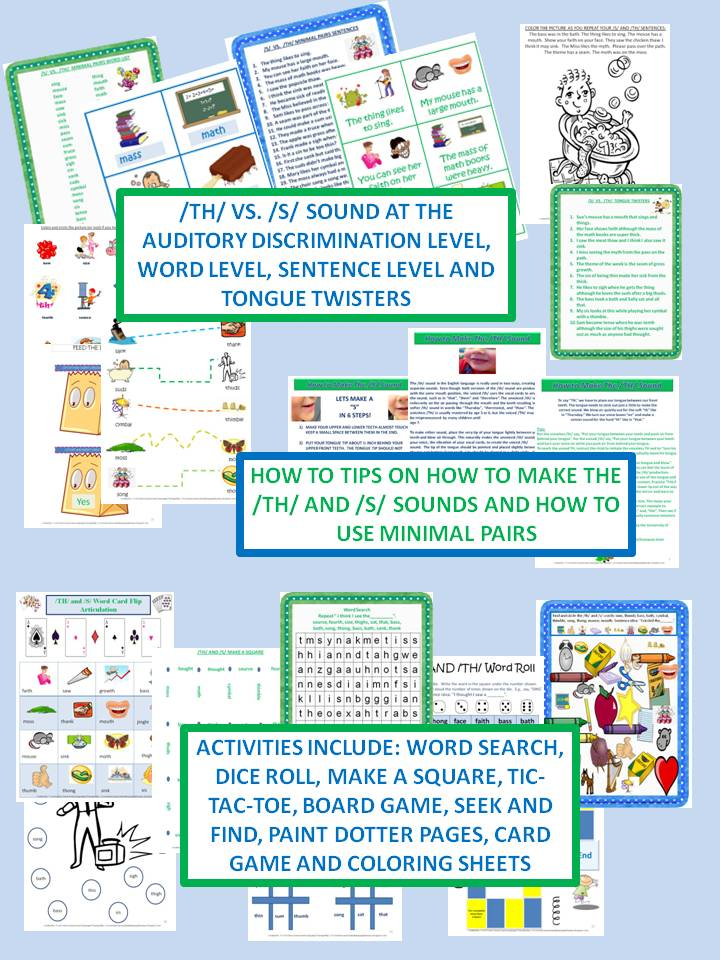 Twin Speech, Language & Literacy LLC: Activity Pack For /S/ vs  /TH