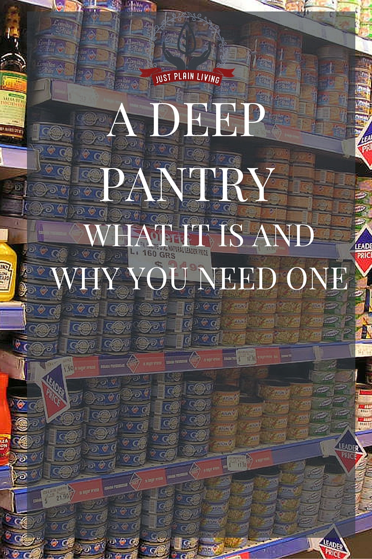 Get started with food storage by building a deep pantry. Save money and time and make cooking much less stressful.