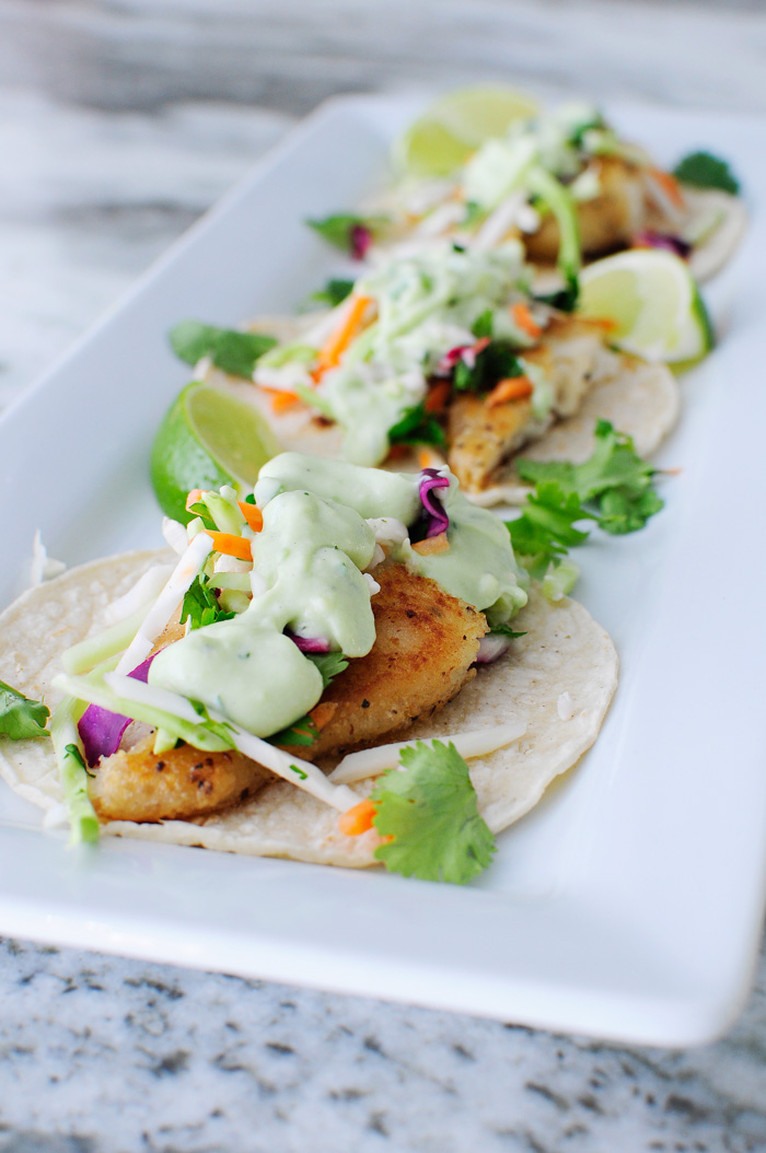 Tilapia street tacos with avocado jalapeno dressing and a veggie slaw- three tacos for only 11 Weight Watchers Smart Points. This recipe looks delicious!