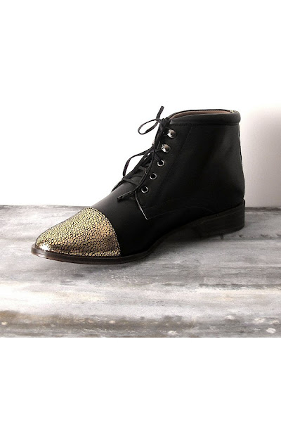 Bottines noires et or Emma Go