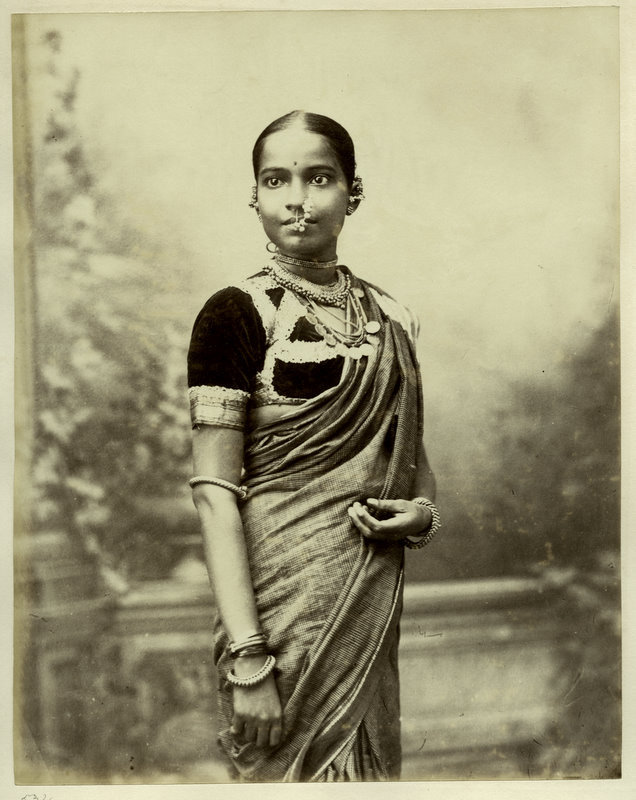Studio Portrait of an Indian Woman in Sari and various Ornaments - 1880's