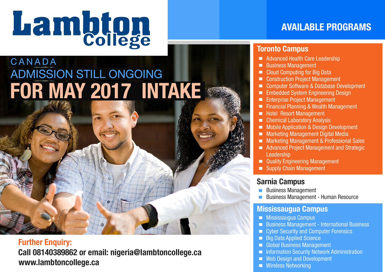Admission Processing Is On Going Into Lambton College Ontario