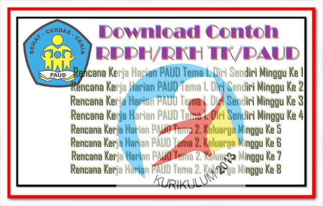 Download Contoh RPPH/RKH TK/PAUD Minggu 1 sampai Minggu 34