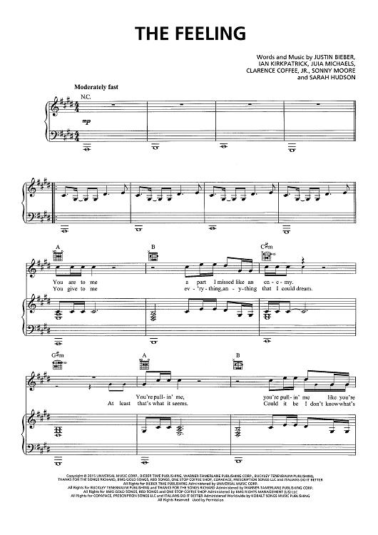 bieber feeling sheet music download