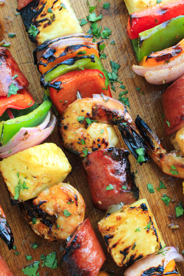 Pineapple Shrimp and Kielbasa Kabobs